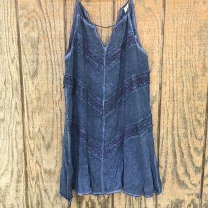 NEW Andree Blue sleeveless boho tie top tank small